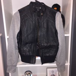 Leather jacket with grey sleeves